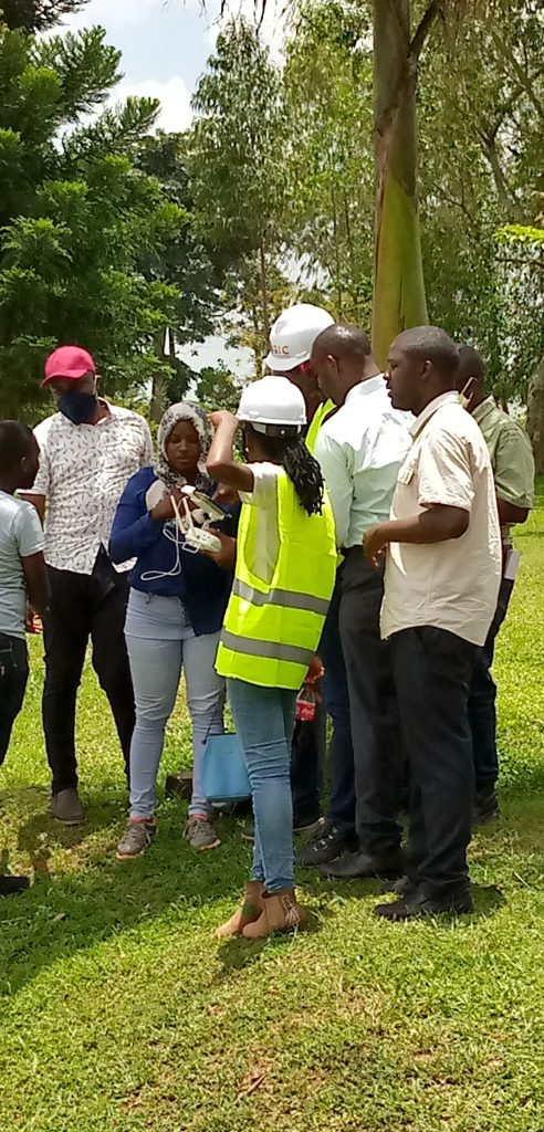 GIC and UNRA team participating in a DEMO for purpose of integrating aerial mapping and Resettlement Action Plan
