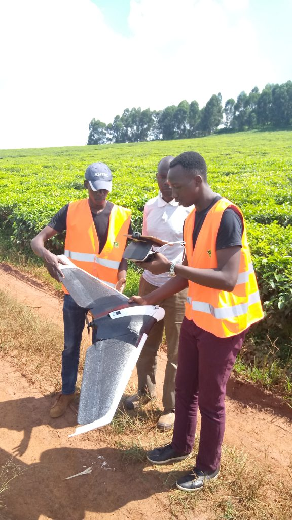Aerial Service specialist Isaac Onyera carrying out Calibration of the Parrot Sequoia Multispectral camera.